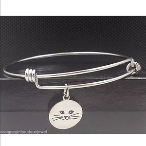 Jewelry - Cat Charm Stainless Steel Bracelet Expandable Wire